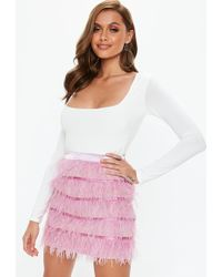 5ff2042ae5 Missguided - Pink Ostrich Feather Mini Skirt - Lyst
