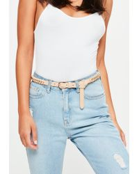 Missguided - Nude Woven Chain Belt - Lyst