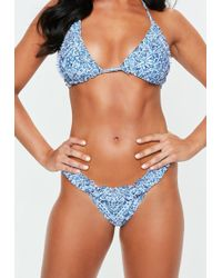 Missguided - Blue Tile Print Frill Bikini Bottoms - Lyst