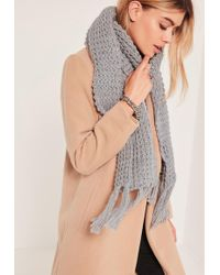 Missguided - Chunky Knit Tassel Scarf Grey - Lyst