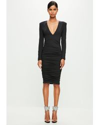 Missguided - Peace + Love Black Ruched Dress - Lyst