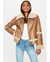 Missguided - Petite Brown Crop Zip Aviator Jacket - Lyst