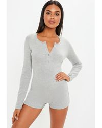 Missguided - Grey Rib Mix And Match Loungewear Playsuit - Lyst