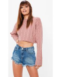 Missguided - Pink Cable Cropped Knitted Jumper - Lyst