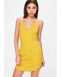 Missguided - Yellow Halterneck Bodycon Dress - Lyst
