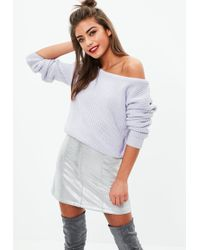 Missguided | Purple Crop Off Shoulder Knitted Jumper | Lyst