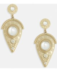 Missguided - Gold Detailed Dropped Earrings - Lyst