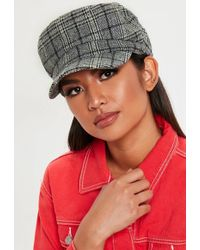 Missguided - Grey Checked Baker Boy Cap - Lyst 714f4b085f16