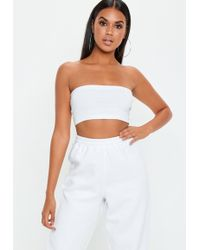 Missguided - Petite White Basic Bandeau Top - Lyst