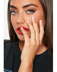 Missguided - Diamante Circle Engraved Ring - Lyst