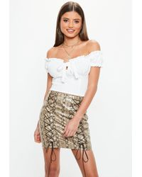 Missguided - White Tie Front Frill Bardot Crop Top - Lyst