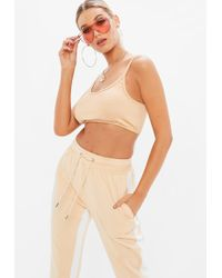 Missguided - Petite Nude Strappy Crop Top - Lyst
