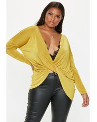 Missguided - Plus Size Yellow Drape Front Slinky Top - Lyst