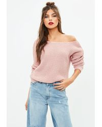 Missguided - Pink Waffle Stitch Off Shoulder Jumper - Lyst