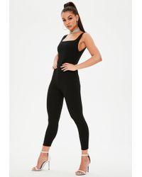 17c3ec26f8 Lyst - Missguided Black Jersey Strappy Unitard Jumpsuit in Black