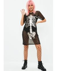 Missguided - Halloween Mesh Skeleton T-shirt Dress Black - Lyst