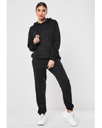 Missguided Black Hoodie And Sweatpants Co Ord Set