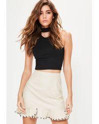 20f009b54 Missguided - Cream Faux Leather Stud Frill Hem Mini Skirt - Lyst