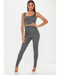 Missguided - Grey Ribbed Toggle Leggings - Lyst