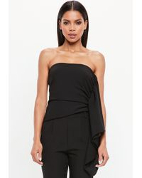 Missguided - Peace + Love Black Bandeau Side Frill Top - Lyst