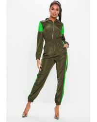 7321b4a4e4 Lyst - Missguided Utility Zip Front Jumpsuit Khaki in Natural