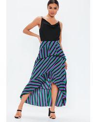 Missguided - Purple Stripe Frill Midi Skirt - Lyst
