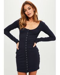 Missguided - Navy Ribbed Popper Bodycon Dress - Lyst
