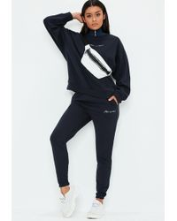 Missguided - Navy Slogan Joggers - Lyst