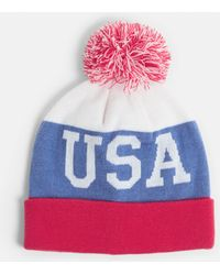 Missguided - Blue Usa Bobble Hat - Lyst