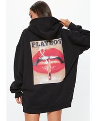 Missguided - Playboy X Black Magazine Print Oversized Hoodie Dress - Lyst