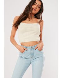 5c8d9b47470 Missguided Bardot Ribbed Crop Top White in White - Lyst