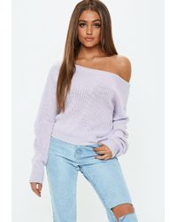 Missguided - Lilac Cropped Off The Shoulder Jumper - Lyst