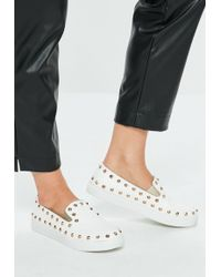 Missguided - White Studded Slip On Sneakers - Lyst