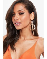Missguided - Rose Gold Drop Detail Earrings - Lyst