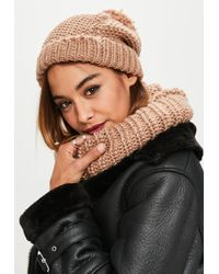 Missguided - Camel Knitted Snood & Hat Set - Lyst