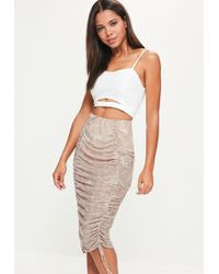 Missguided - Nude Printed Mesh Gathered Front Midi Skirt - Lyst