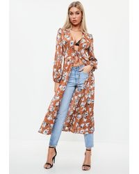 Missguided - Brown Floral Lace Up Duster Jacket - Lyst