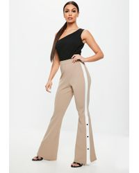181d4344945 Missguided Silky Dungaree Culotte Jumpsuit Nude in Natural - Lyst