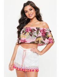 Missguided - Pink Frill Bardot Tropical Crop Top - Lyst