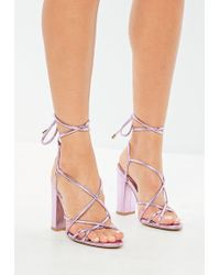 1be4b5e13f72 Missguided - Pink Metallic Lace Up Block Heeled Sandals - Lyst