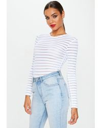 Missguided - White Crew Neck Mesh Stripe Bodysuit - Lyst
