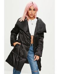 Missguided - Black Waterfall Padded Jacket - Lyst
