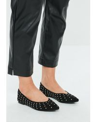 Missguided - Black Ballerina Stud Shoes - Lyst
