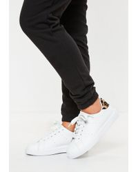 Missguided - White Leopard Colour Tab Back Flatform Trainers - Lyst