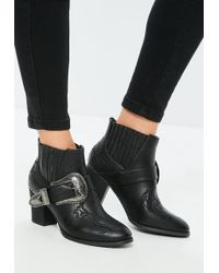 Missguided - Black Large Buckle Western Chelsea Boots - Lyst