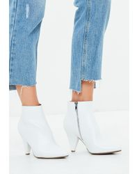 Missguided - White Cone Heel Ankle Boots - Lyst