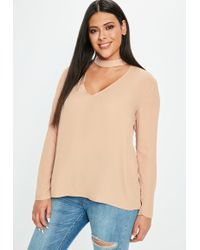 Missguided - Curve Pink Choker Blouse - Lyst