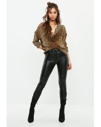 Missguided - Brown Leopard Print Oversized Plunge Shirt - Lyst