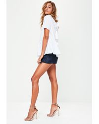Missguided - White Peplum Tie Back Blouse - Lyst