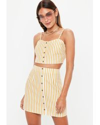 Missguided - Mustard Yellow Stripe Co Ord Skirt - Lyst